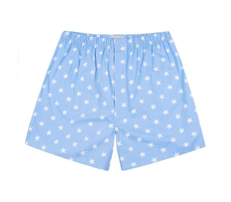 Cotton Boxer Shorts, Stars - Sky Blue
