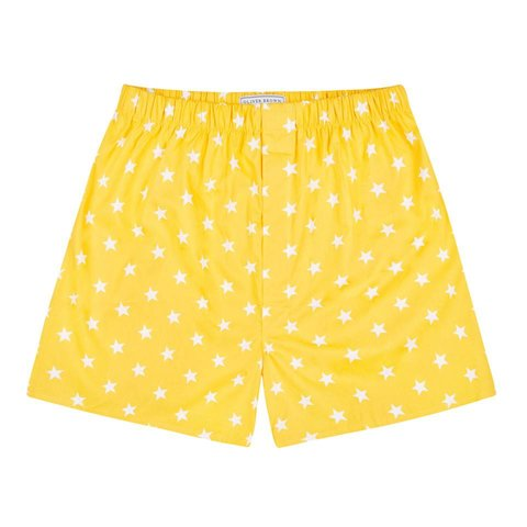 Cotton Boxer Shorts, Stars - Yellow