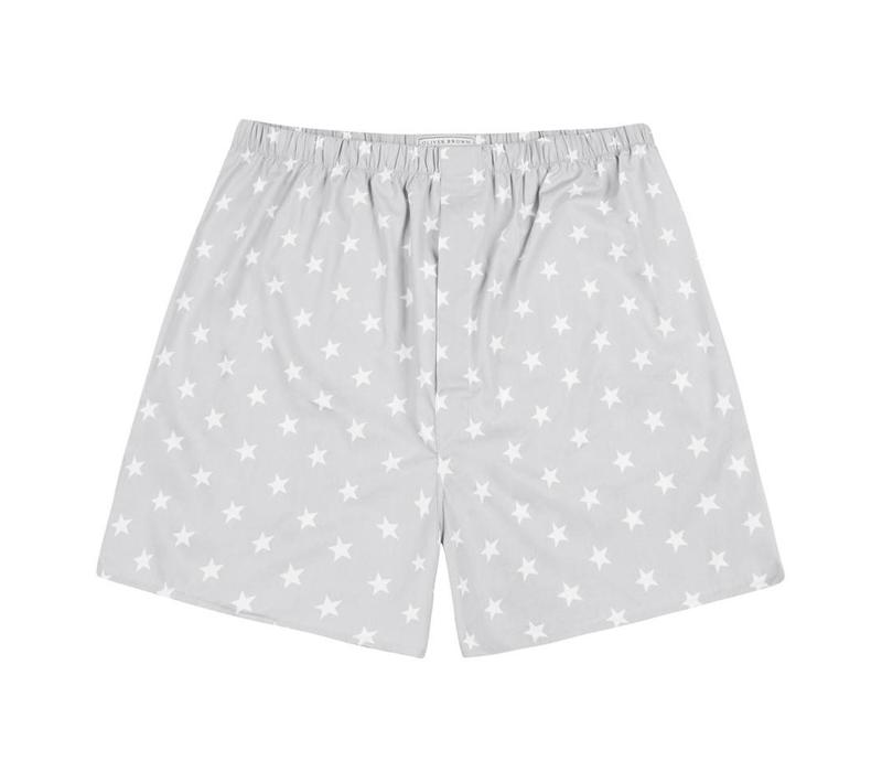 Cotton Boxer Shorts, Stars - Silver Grey