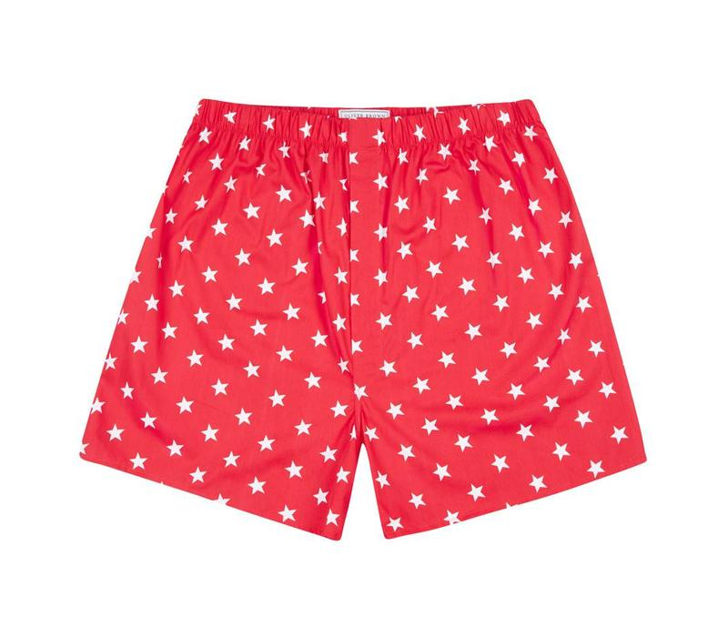 Cotton Boxer Shorts, Stars - Red
