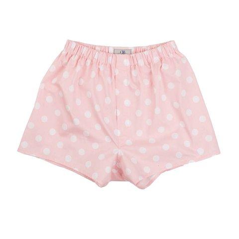 Cotton Boxer Shorts, Polka Dot - Pale Pink