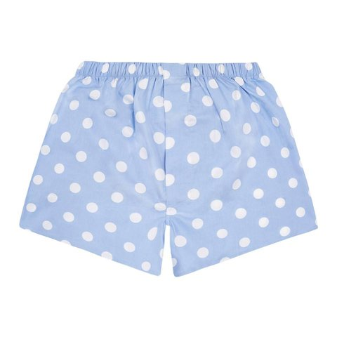 Cotton Boxer Shorts, Polka Dot - Sky Blue