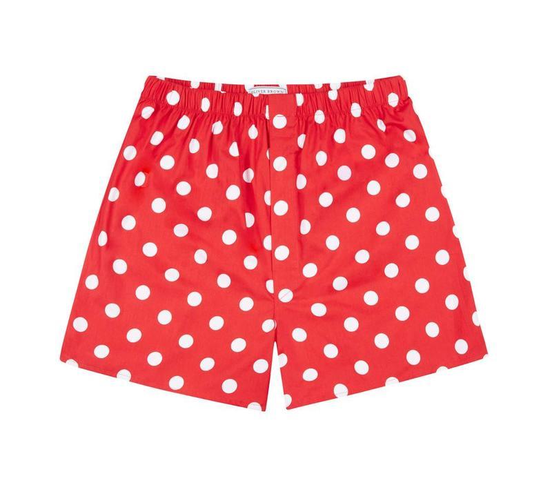 Cotton Boxer Shorts, Polka Dot - Red