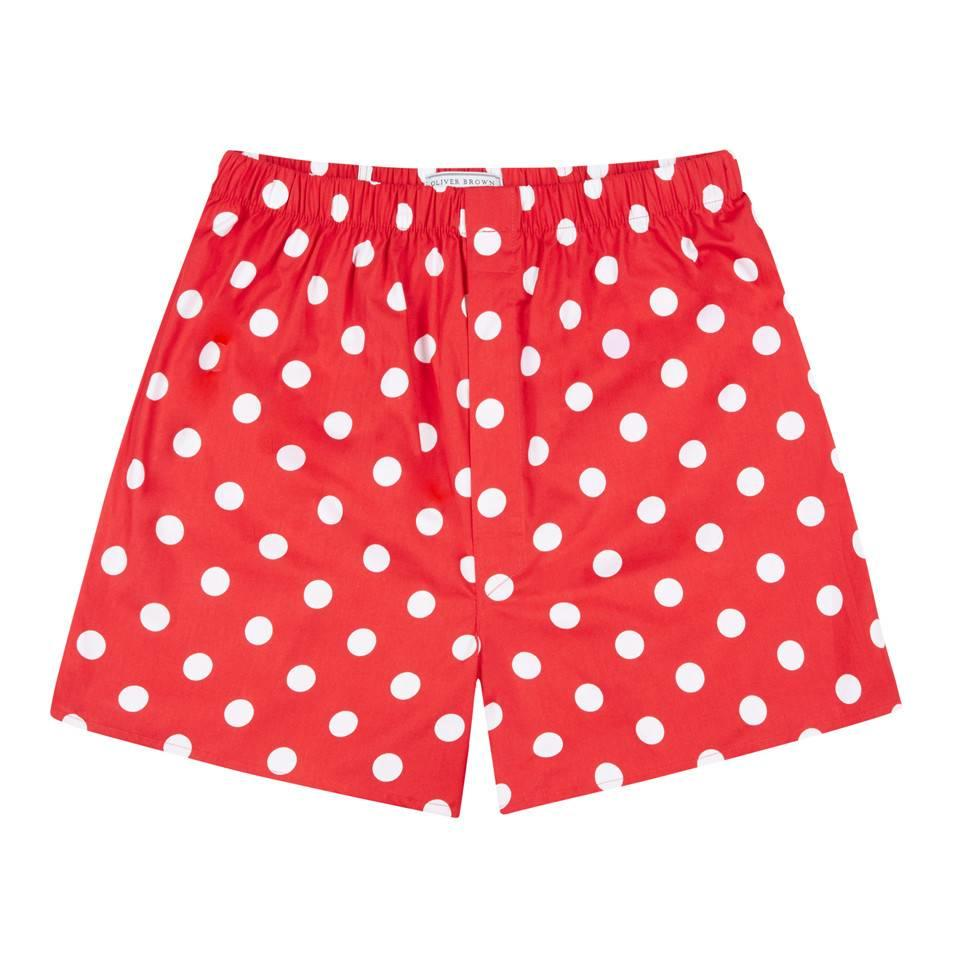 Cotton Boxer Shorts, Polka Dot - Red