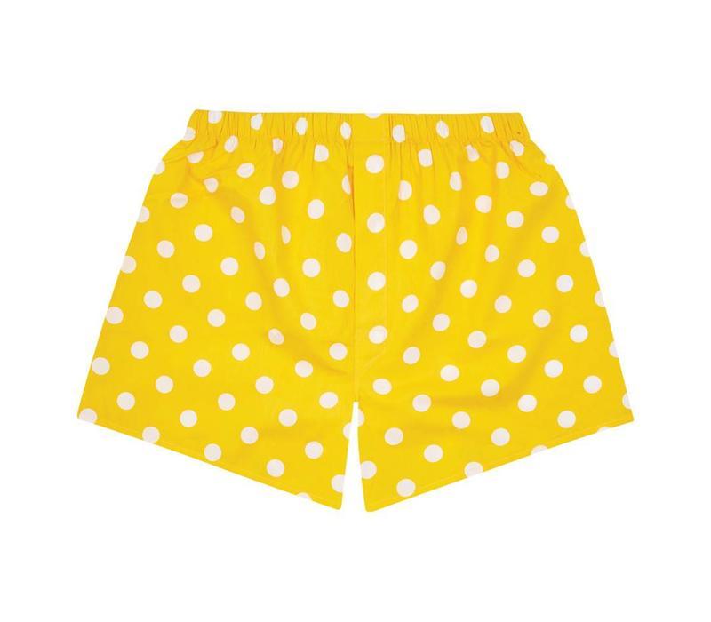Cotton Boxer Shorts, Polka Dot - Yellow