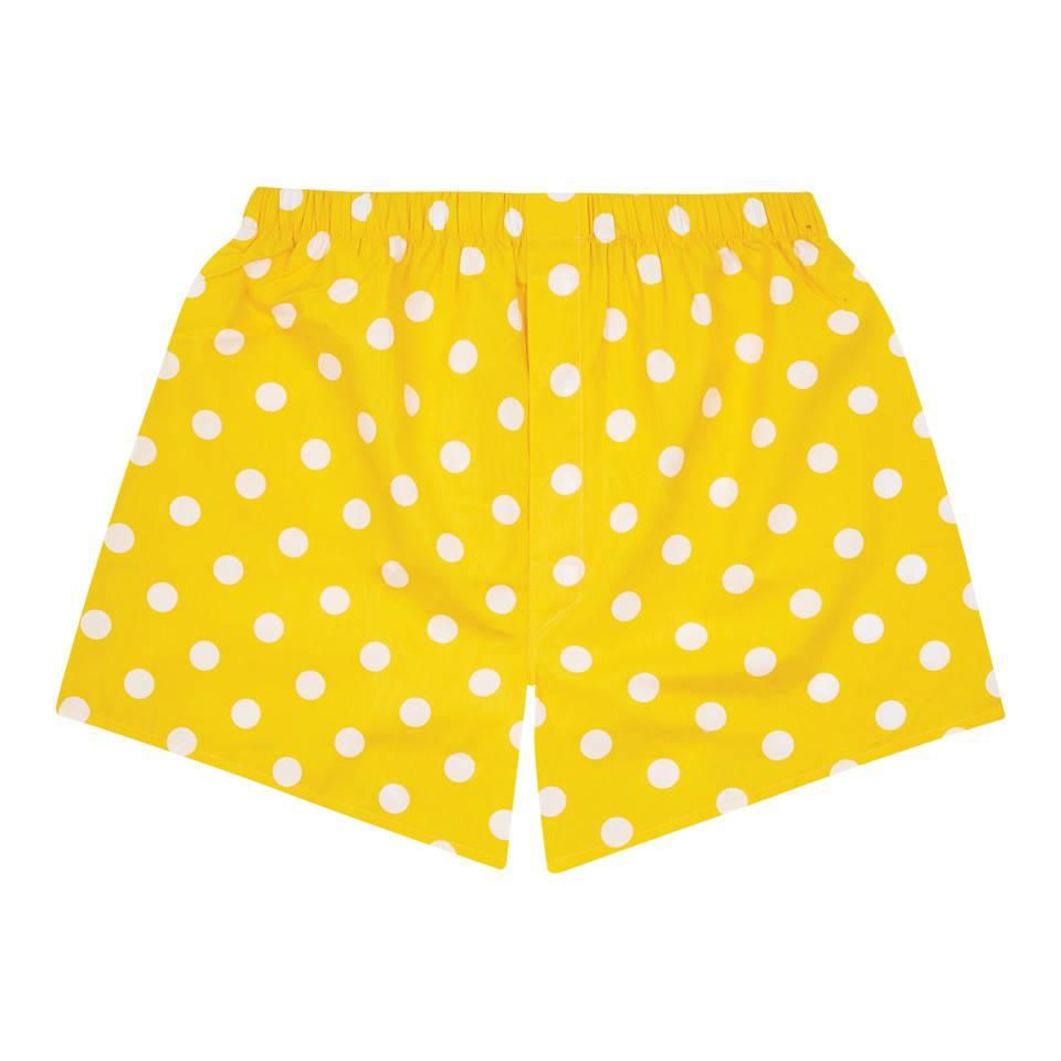 Cotton Boxer Shorts, Polka Dot - Yellow