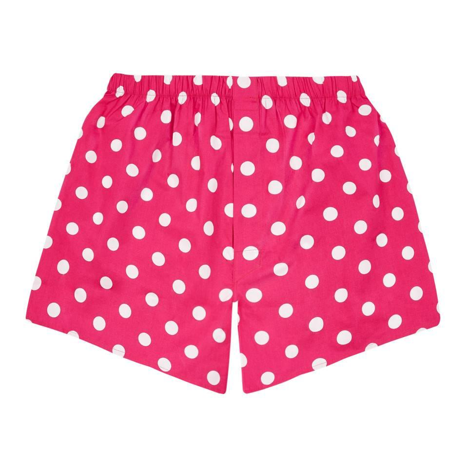 Cotton Boxer Shorts, Polka Dot - Bright Pink