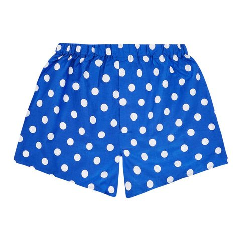 Cotton Boxer Shorts, Polka Dot - Royal Blue