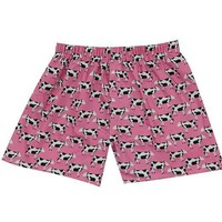 Cotton Boxer Shorts, Cows - Pink