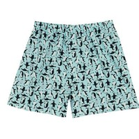 Cotton Boxer Shorts, Penguin - Blue
