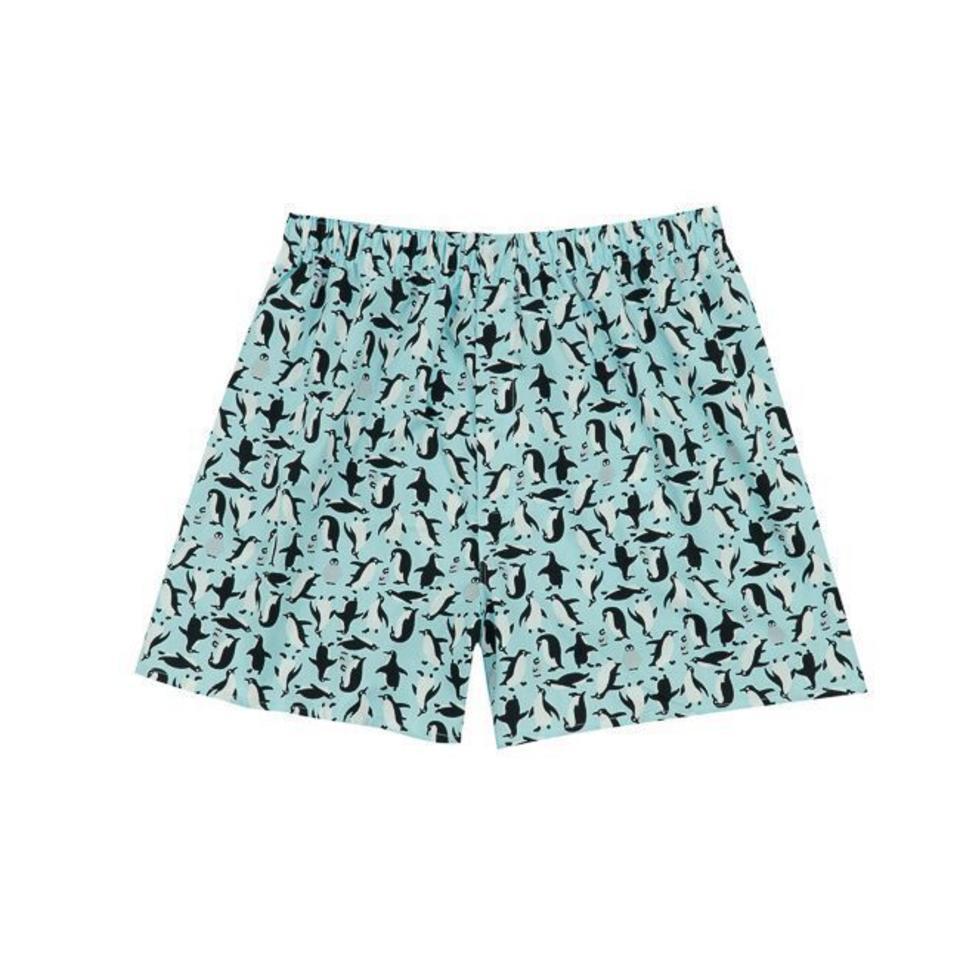 Cotton Boxer Shorts, Penguin - Blue