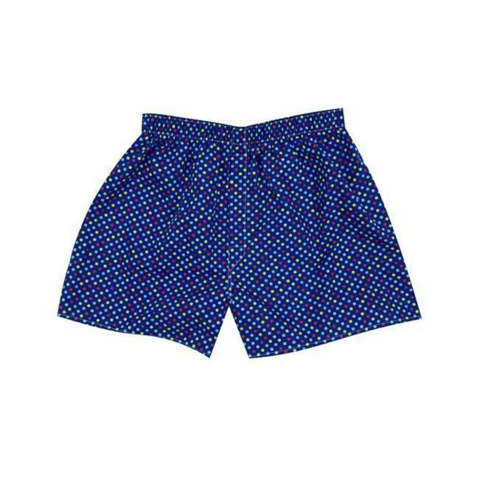 Cotton Boxer Shorts, Multi Spot - Royal Blue