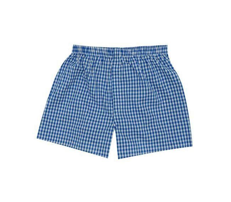 Cotton Boxer Shorts, Gingham - Blue