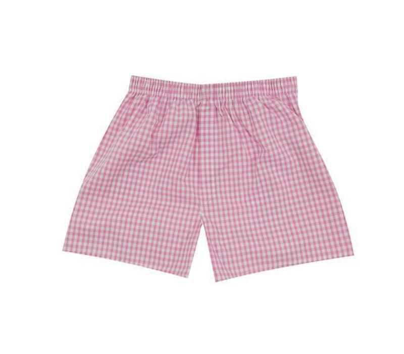 Cotton Boxer Shorts, Gingham - Pink
