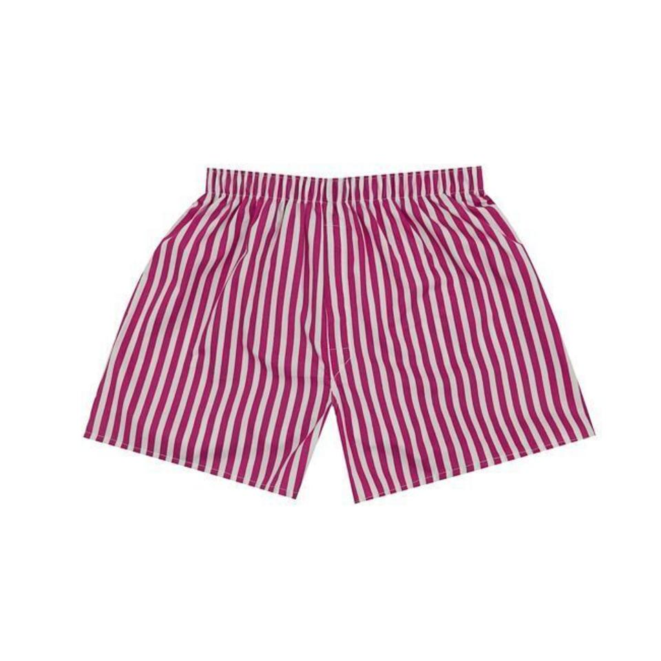 Cotton Boxer Shorts, Stripe - Bright Pink