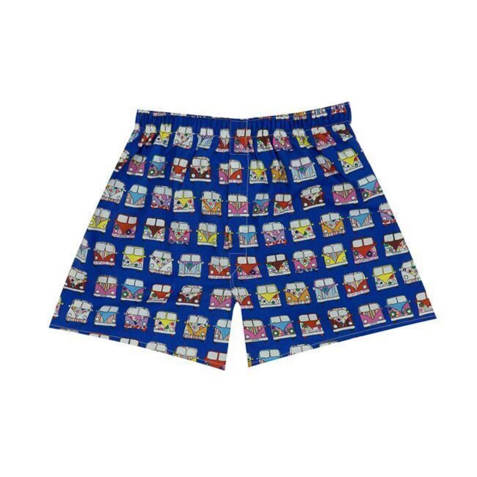 Cotton Boxer Shorts, Camper van - Royal Blue