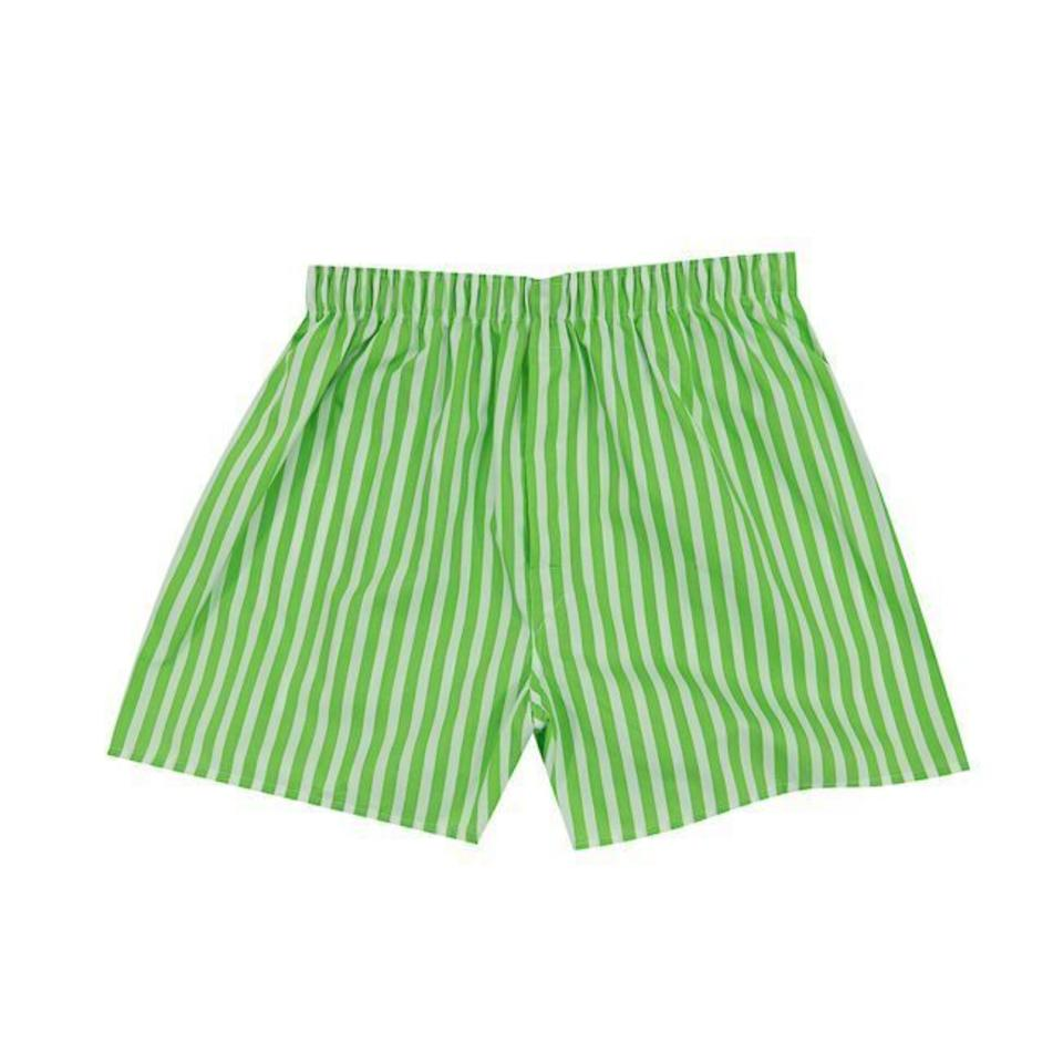 Cotton Boxer Shorts, Stripe - Lime