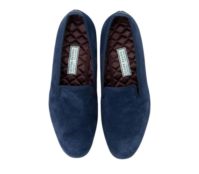 Navy Suede Slippers