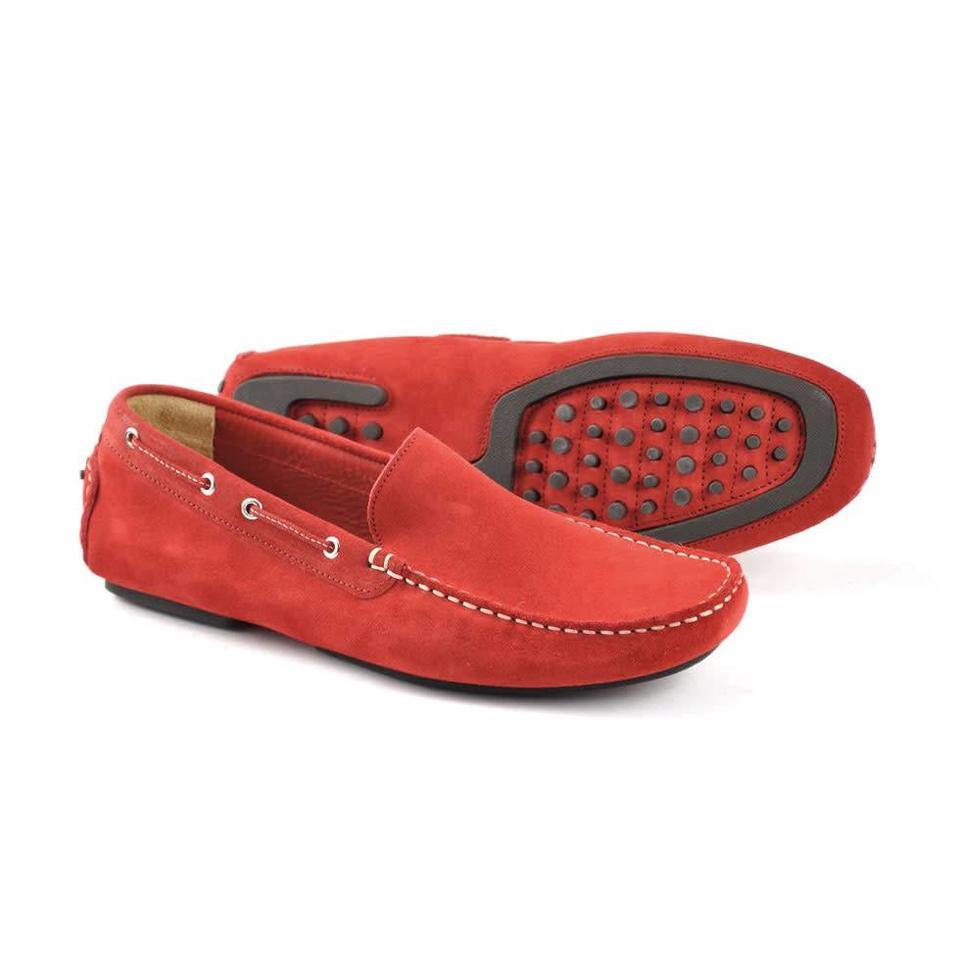 Suede Driving Shoes - Red