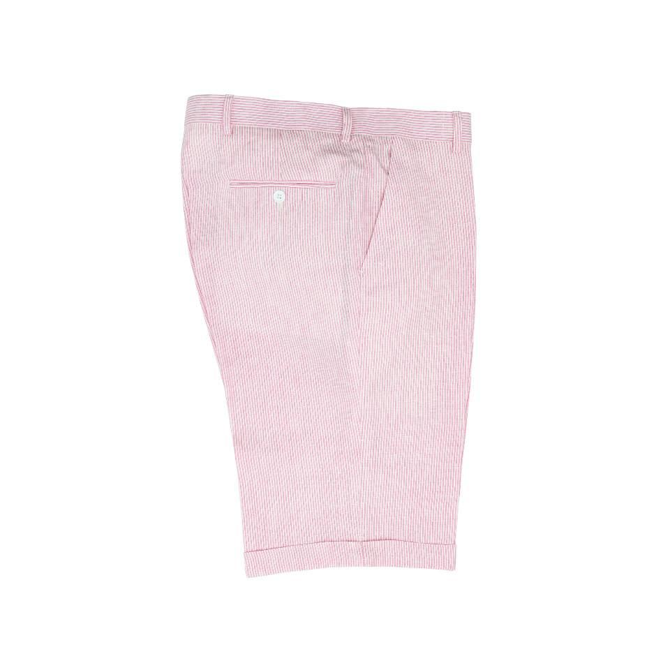 Striped Linen Shorts - Pink
