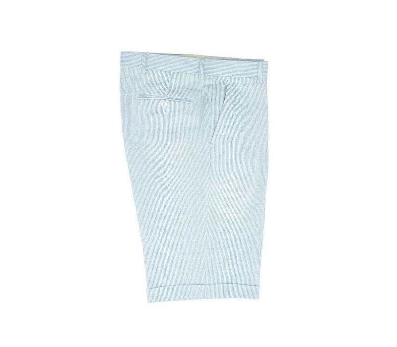 Striped Linen Shorts - Pale Blue