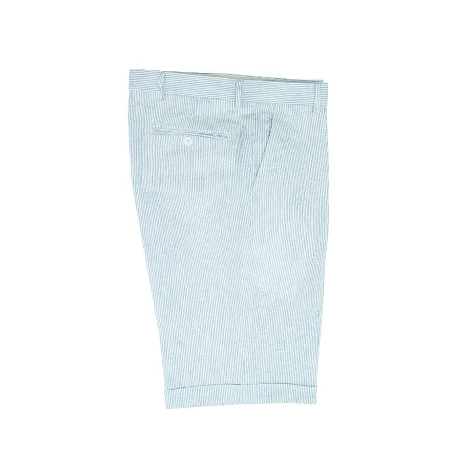 Striped Linen Shorts - Pale Blue