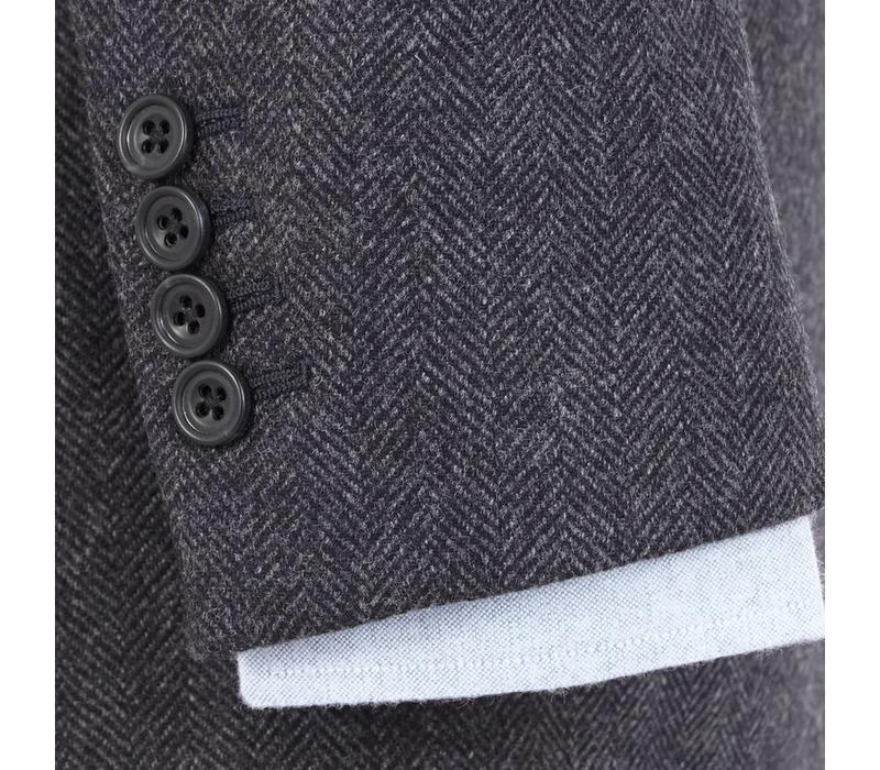 Un-Lined Cashmere Blend Herringbone Jacket - Navy