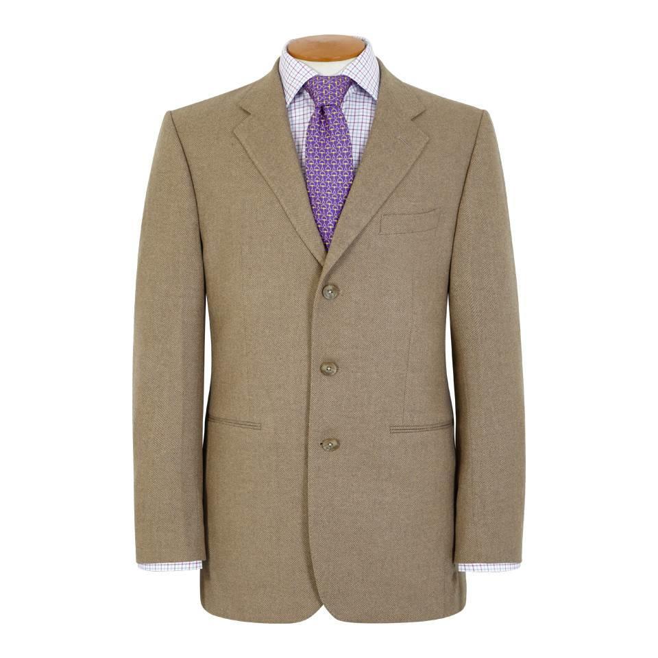 Un-Lined Cashmere Blend Herringbone Jacket - Beige