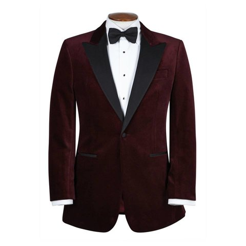 Single Breasted Smoking Jacket, with Peak Lapel - Burgundy