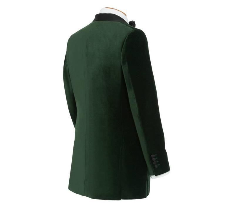 Single Breasted Smoking Jacket, with Shawl Collar - Green