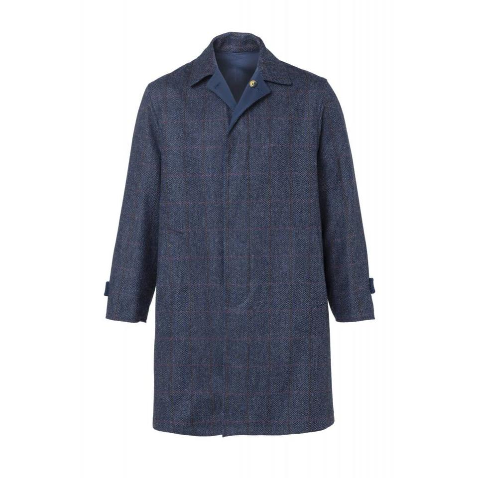 Herringbone Tweed Reversible Raincoat - Navy