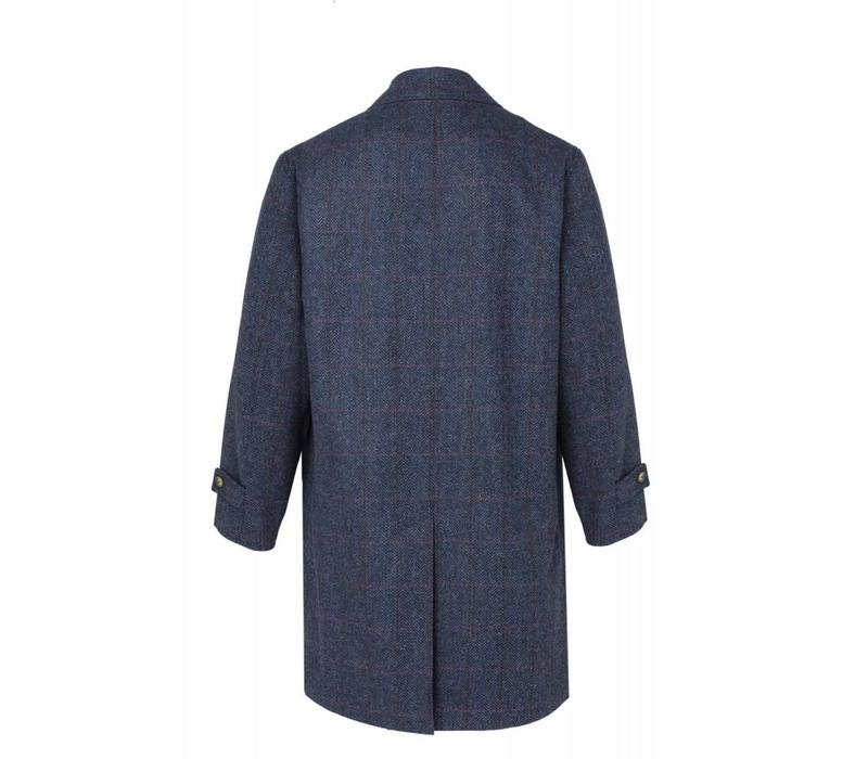 Herringbone Tweed Reversible Raincoat - Navy