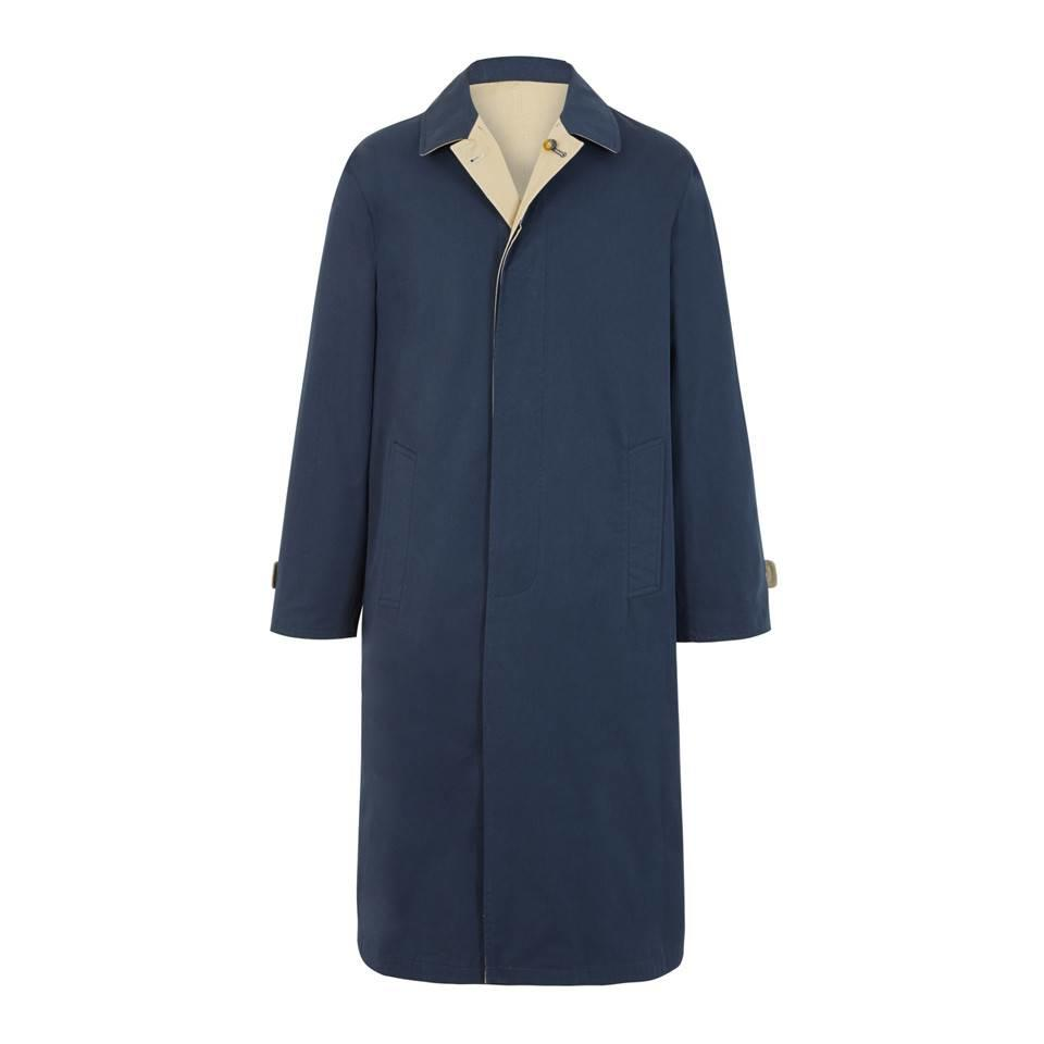 Long Reversible Raincoat - Navy and Tan