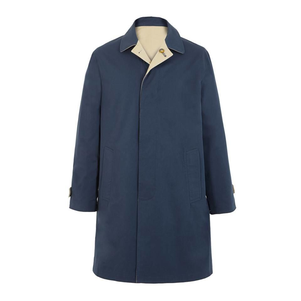 Short Reversible Raincoat - Navy and Tan