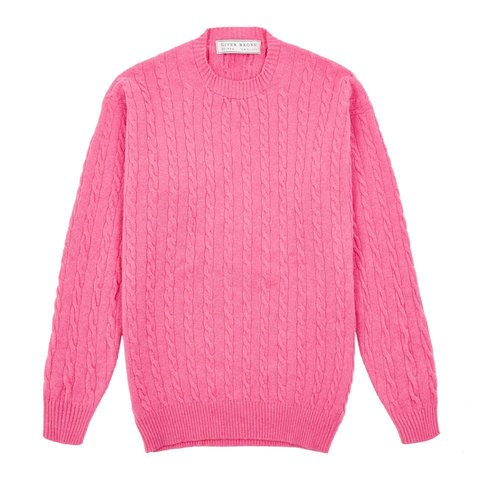 Cable Knit Crew Neck Jumper - Fuchsia