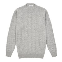 Cable Knit Crew Neck Jumper - Light Grey
