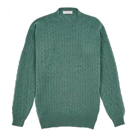 Cable Knit Crew Neck Jumper - Lovat