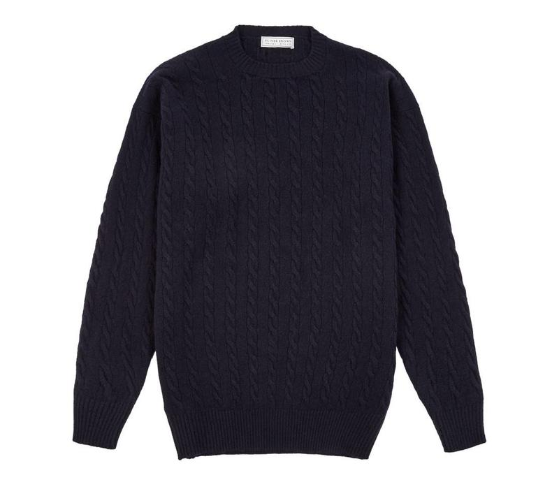 Cable Knit Crew Neck Jumper - Navy