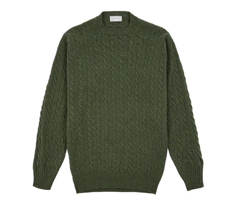 Cable Knit Crew Neck Jumper - Olive