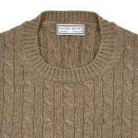 Cable Knit Crew Neck Jumper - Brown
