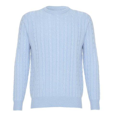 Cashmere Cable Knit Crew Neck - Pale Blue