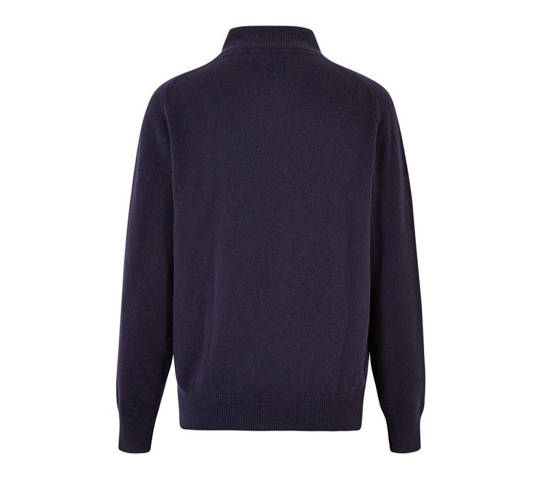 Half Zip Lambswool Jumpers - Navy