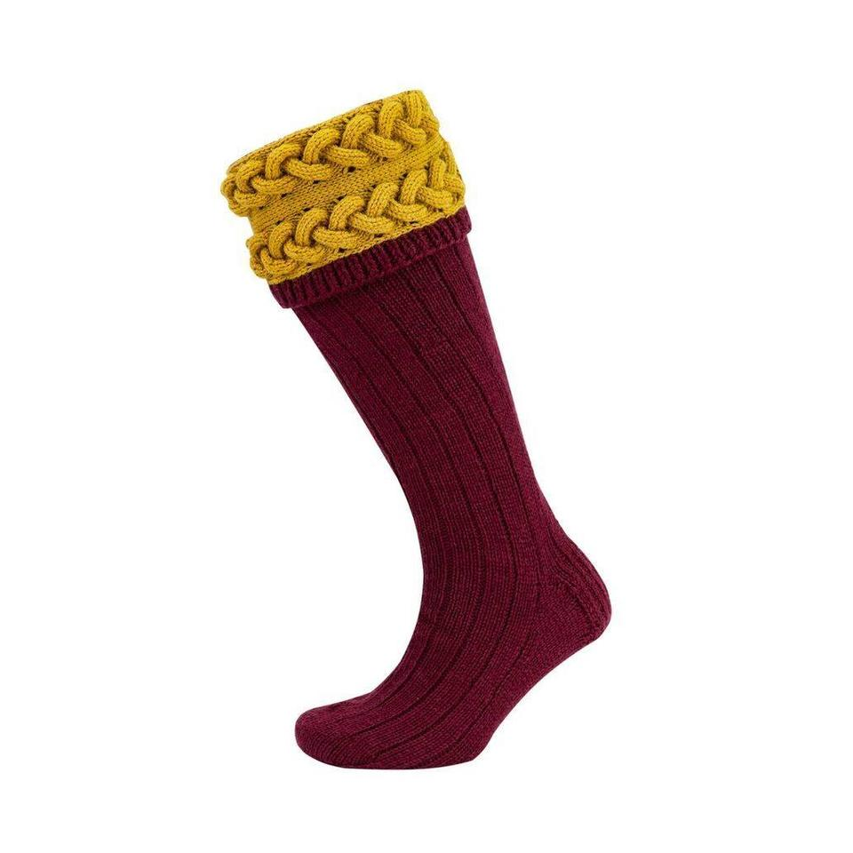 Horizontal Cable Shooting Socks - Wine and Gold