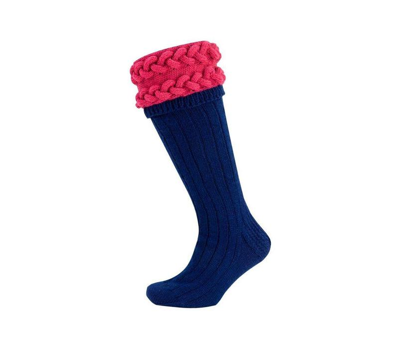 Horizontal Cable Shooting Socks - Navy and Cyclamen