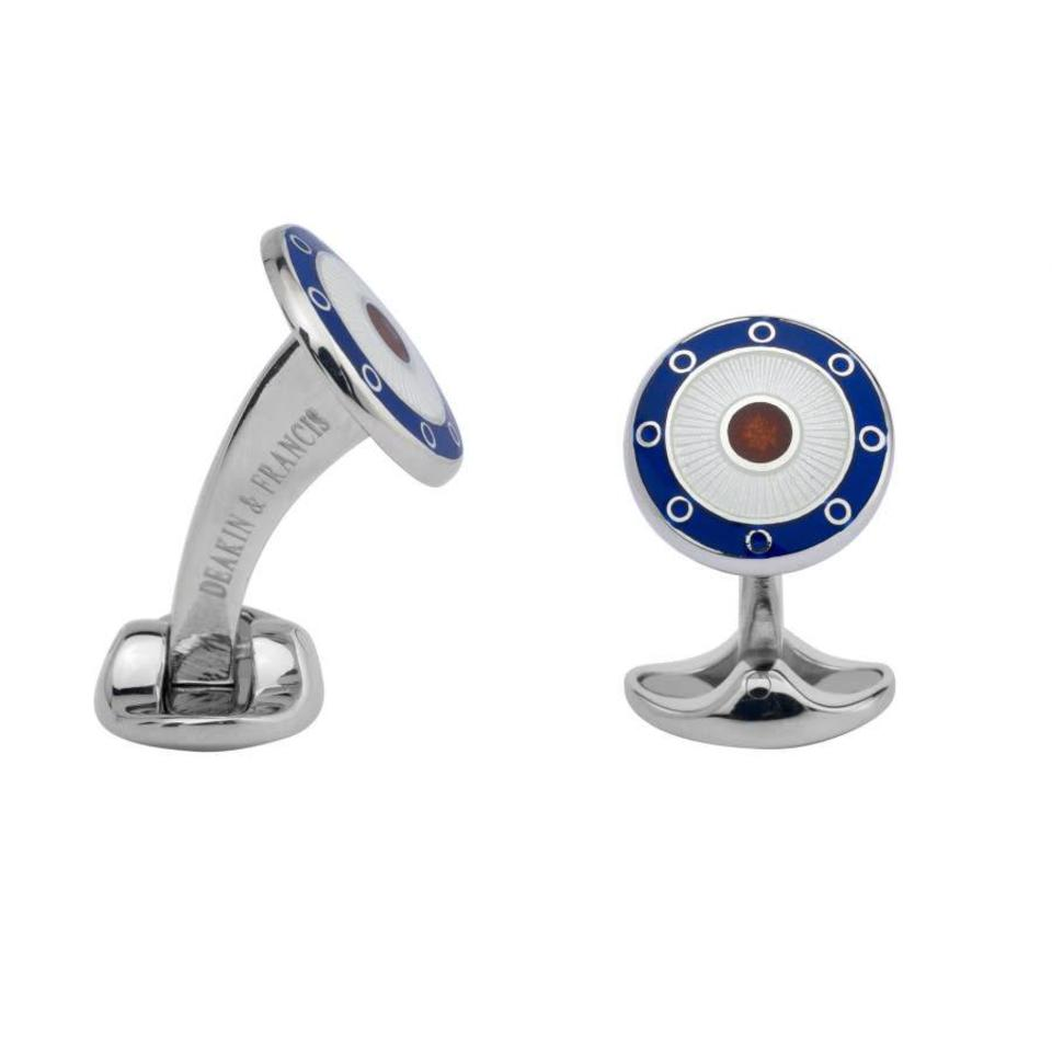 Sterling Silver Round Navy Blue, Clear and Red Enamel Cufflinks