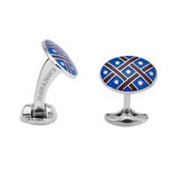 Sterling Silver Royal Blue & Maroon Red Fancy Pattern Enamel Cufflinks