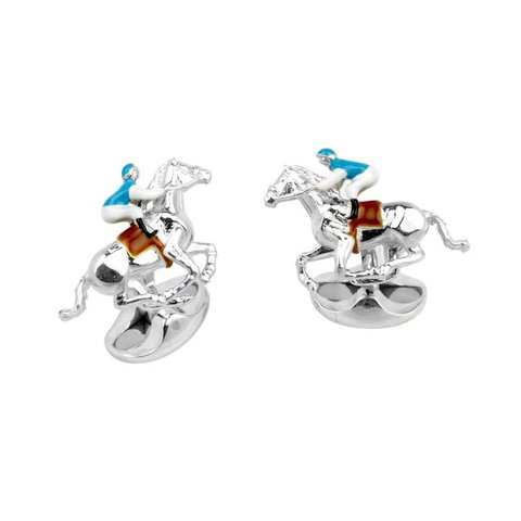 Sterling Silver Blue and Brown Horse and Jockey Cufflinks