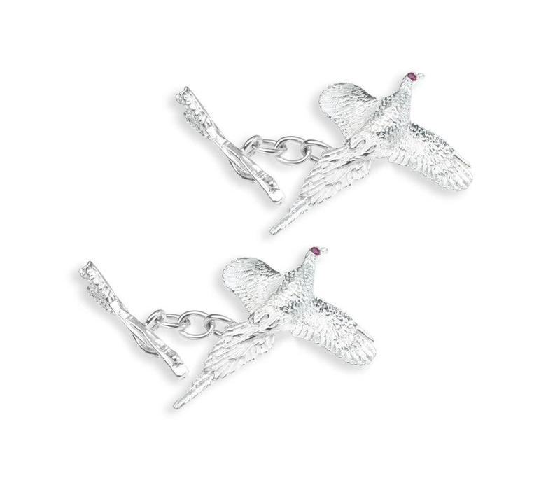 Solid Silver Sports Cufflinks, Curling Pheasant