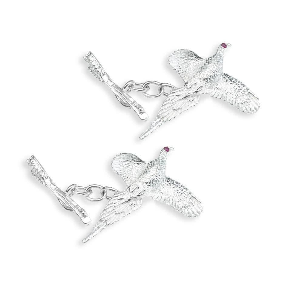 Solid Silver Field Sports Cufflinks, Curling Pheasant