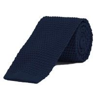Silk Knitted Tie - Navy
